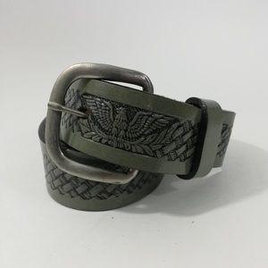 Vintage Leather Gray Tooled Belt Size 32